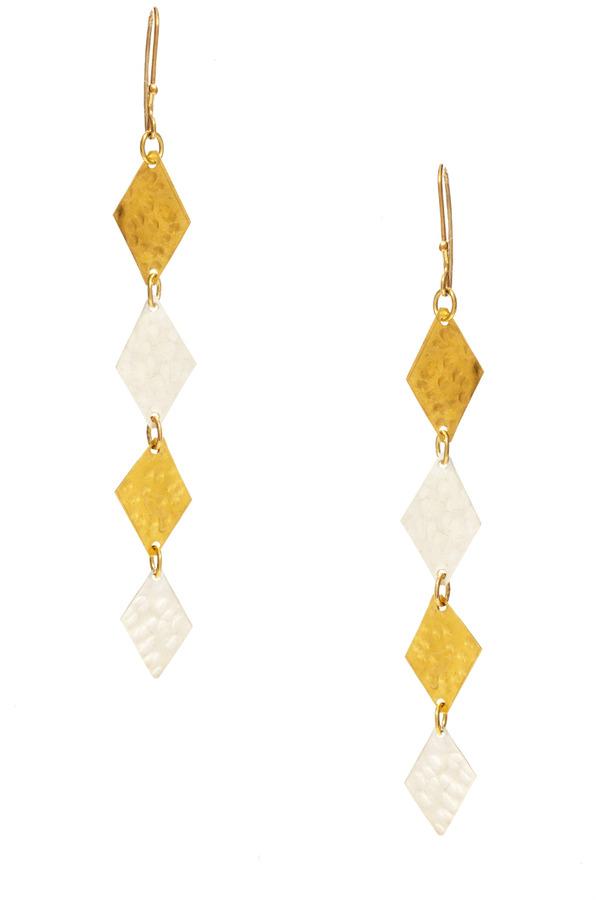 People Tree Geometric Diamond Drop Earrings
