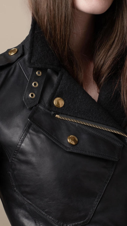 Burberry Felted Wool and Leather Trench Coat