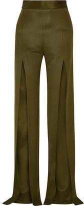Balmain - Stretch-knit Wide-leg Pants - Army green $2,610 thestylecure.com