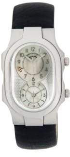 Philip Stein Teslar Signature Stainless Steel & Leather-Strap Watch