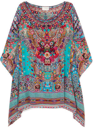 Camilla Embellished Printed Silk Crepe De Chine Kaftan - Turquoise