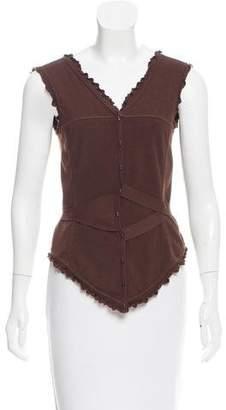 Fendi Ruffle-Trimmed Knit Top
