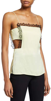 3.1 Phillip Lim Square-Neck Cutout Camisole with Lace Trim