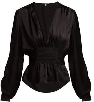 ALEXACHUNG Smocked Blouse - Womens - Black Multi
