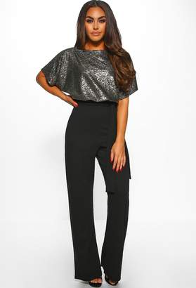 f15170ca0b05 Pink Boutique Classy But Sassy Black Sparkle Belted Wide Leg Jumpsuit