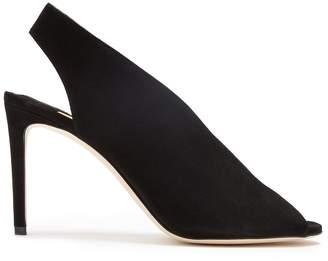 Jimmy Choo Shar 85 peep-toe suede slingback sandals