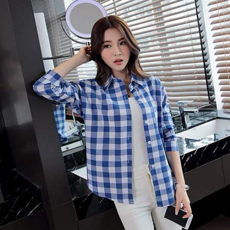 OUTAD Blue Autumn Women Casual Loose Plaid Shirt Single Breasted Long Sleeved Coat Women'S Shirt