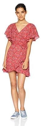 Jack by BB Dakota Junior's Friendly Fire Bella Rose Printed CDC Wrap Dress