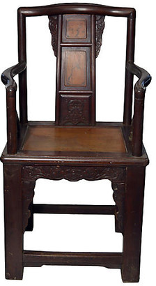 One Kings Lane Vintage Antique Chinese Rattan Yoke Back Chair - FEA Home