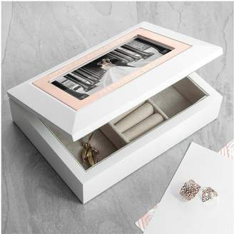 Very Personalised Glossy White Jewellery Box With Rose Gold Finish Inlay