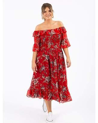 Koko Red Floral Bardot Midi Dress