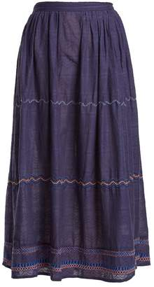 Thierry Colson Cretan Embroidered Cotton Skirt - Womens - Navy