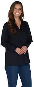 Martha Stewart Stretch Poplin Collared LongSleeve Tunic