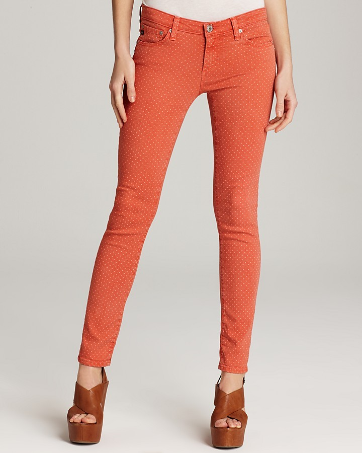 AG Adriano Goldschmied Jeans - Pin Dot Skinny Jeans in Red