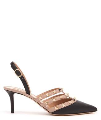 Valentino Rockstud Slingback Leather Pumps - Womens - Black Nude