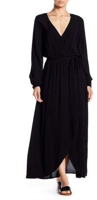 Splendid Woven Long Sleeve Mock Wrap Dress