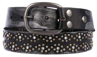 Bed Stu Rhinestone and Studded Distressed Leather Waist Belt