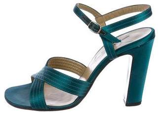 Saint Laurent Satin Ankle-Strap Sandals