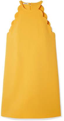 Miu Miu Bow-embellished Scalloped Cady Mini Dress - Yellow