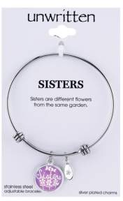 """Unwritten Sisters"""" Adjustable Message Bangle Bracelet in Stainless Steel"""