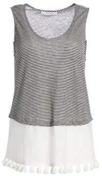 Derek Lam 10 Crosby Stripe Linen& Cotton Pom-Pom Tank