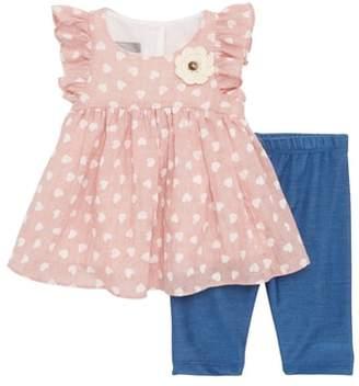 Pippa & Julie Heart Flutter Sleeve Dress & Capri Leggings Set