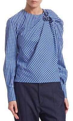 Etoile Isabel Marant Olympe Cotton Check Ruched Blouse