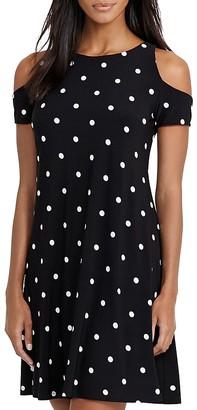 Lauren Ralph Lauren Cold-Shoulder Dot Dress $140 thestylecure.com