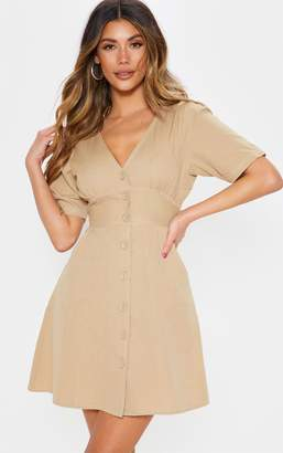 PrettyLittleThing Stone Button Front Contrast Stitching Tea Dress