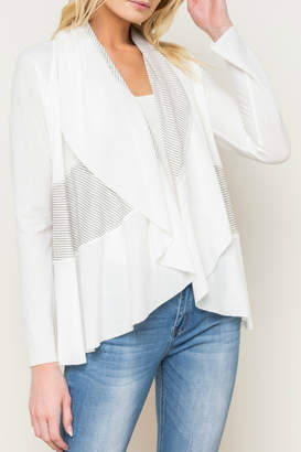 Mystree Mix Stripe Shawl Collar Open Cardy