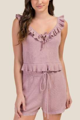 francesca's Lily Cozy Cropped Ruffle PJ Top - Light Rose