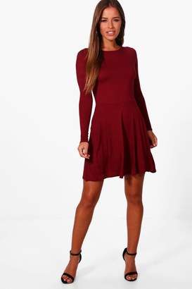 boohoo Petite Harriet Basic Long Sleeve Dress