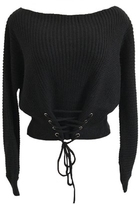 Goodnight Macaroon 'Edrea' Laced Up Front Waist Boat Neck Sweater (3 Colors)