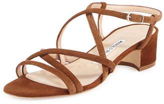 Manolo Blahnik Atrita Suede 30mm Sandal