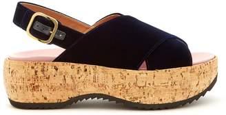 Marni Slingback velvet flatform sandals
