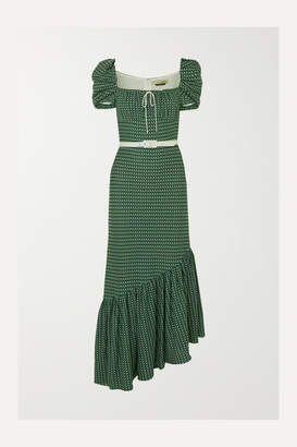 Hellessy Belted Asymmetric Crocheted Cotton Dress - Green
