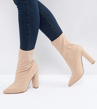 Asos DESIGN BASICALLY Wide Fit Pointed Sock Boots