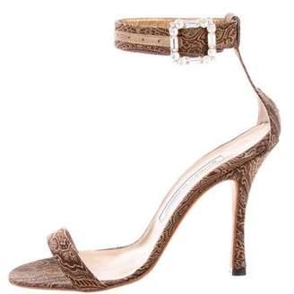 Manolo Blahnik Embellished Printed Sandals
