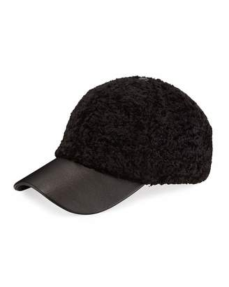 BCBGMAXAZRIA Lux Faux Fur & Faux Leather Baseball Cap