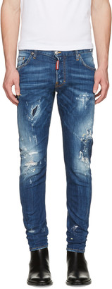 Dsquared2 Blue Sexy Twist Jeans $590 thestylecure.com