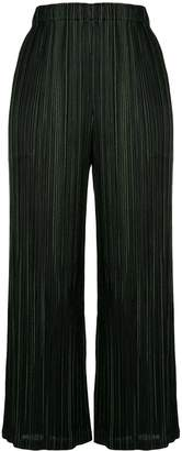 Pleats Please Issey Miyake Pinstripe cropped trousers