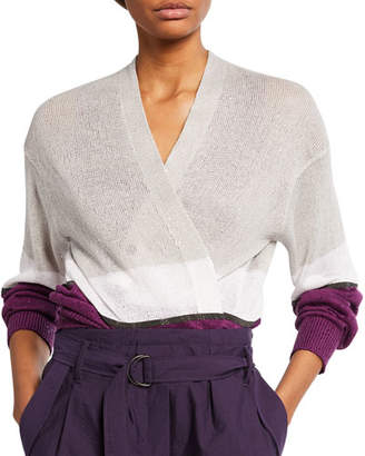 Brunello Cucinelli Colorblocked Linen-Silk Cardigan