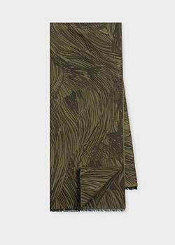 Paul Smith Men's Khaki 'Lion' Jacquard Cotton-Blend Scarf