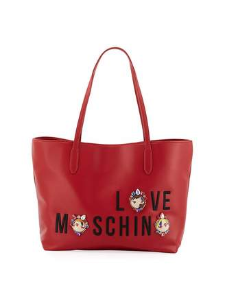 Love Moschino Smooth Napa Faux Logo Tote Bag, Red