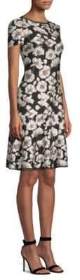 St. John Jacquard Knit Fit-&-Flare Dress
