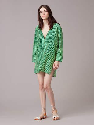 Diane von Furstenberg V-Neck Tied Mini Dress