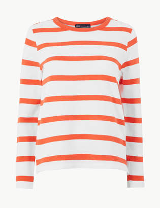 Marks and Spencer Pure Cotton Striped Regular Fit Sweatshirt