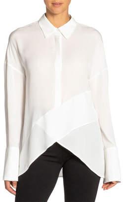 Santorelli Perla Drop-Shoulder Long-Sleeve High-Low Silk Georgette Top