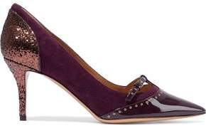 Salvatore Ferragamo Liena 70 Paneled Glittered Suede And Patent-Leather Pumps
