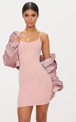 PrettyLittleThing Pink Rib Knit Strappy Dress